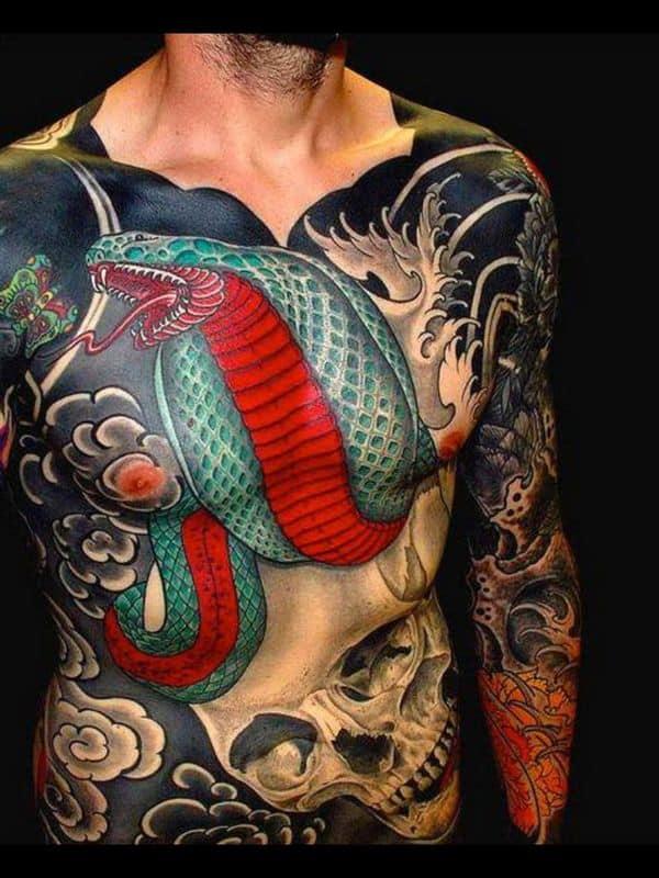 cobra tattoo on chest