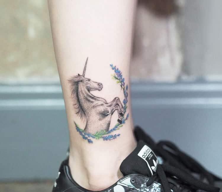 unicorn tattoo on ankle