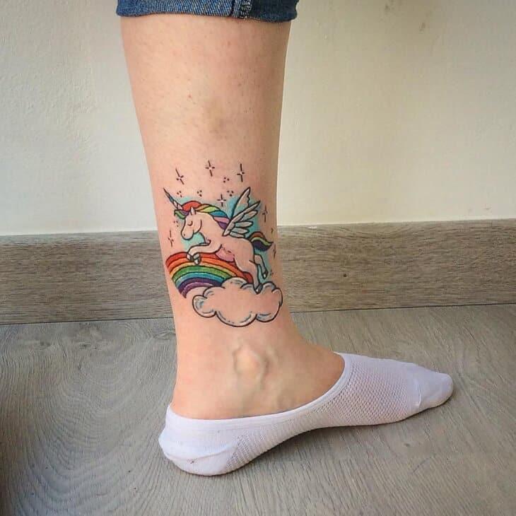 unicorn ankle tattoo