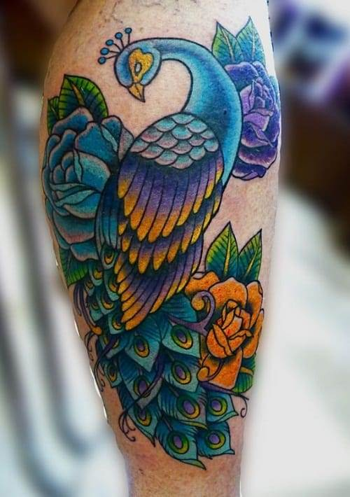 Peacock Tattoo With Yellow Rose