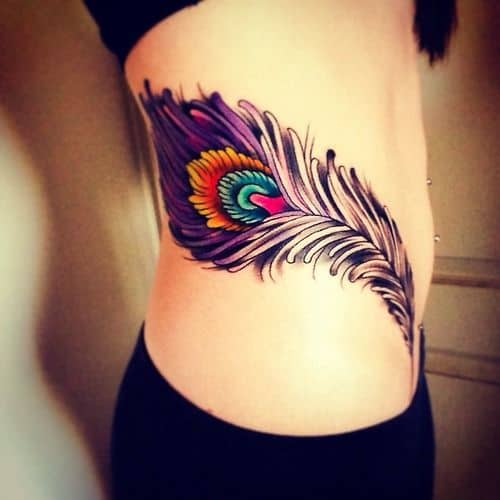 Violet Peacock Feather Side Tattoo