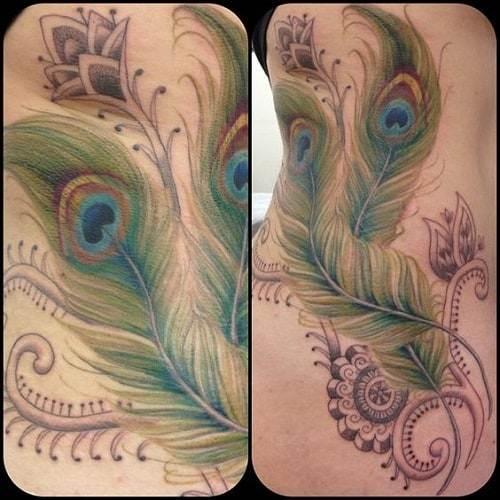 Heart Shaped Peacock Tattoo Design