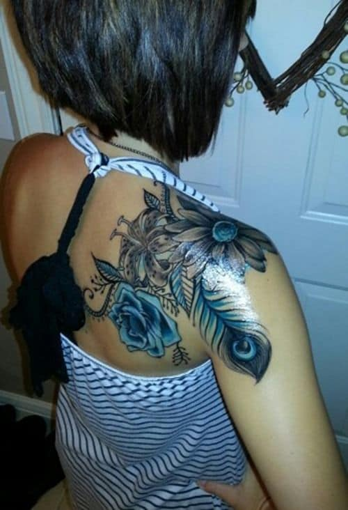 Different Flower With Peacock Tattoo Image Tattoo