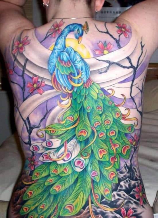 26-Peacock-Tattoos-cherry-blossom