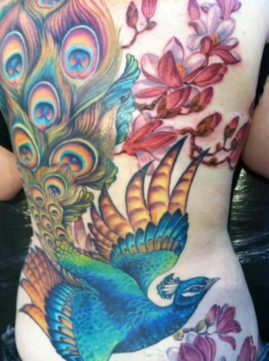 27-Peacock-with-Magnolia-Back-Tattoo