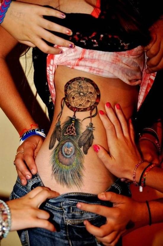 35-Peacock-Feather-with-Dreamcatcher-Tattoo