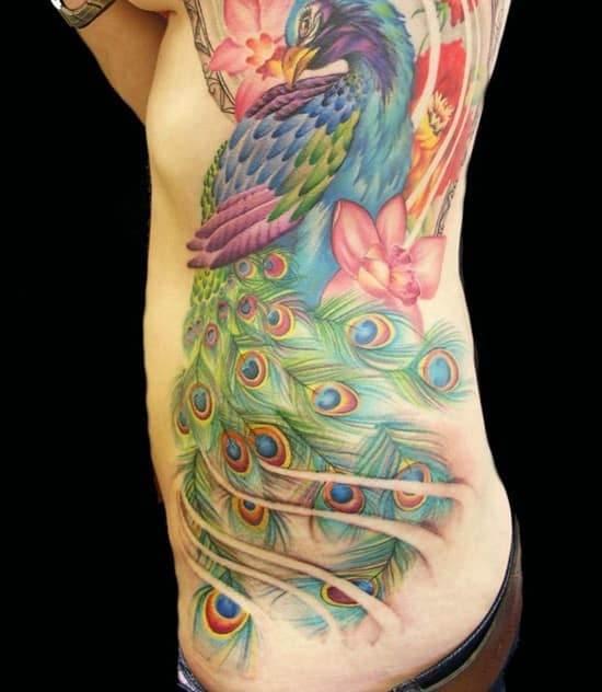 46-Peacock-Tattoo-on-Side