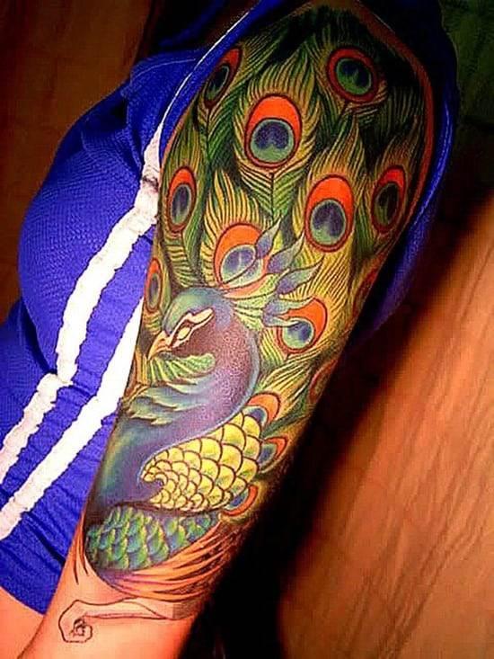 49-Peacock-Half-Sleeve-Tattoo