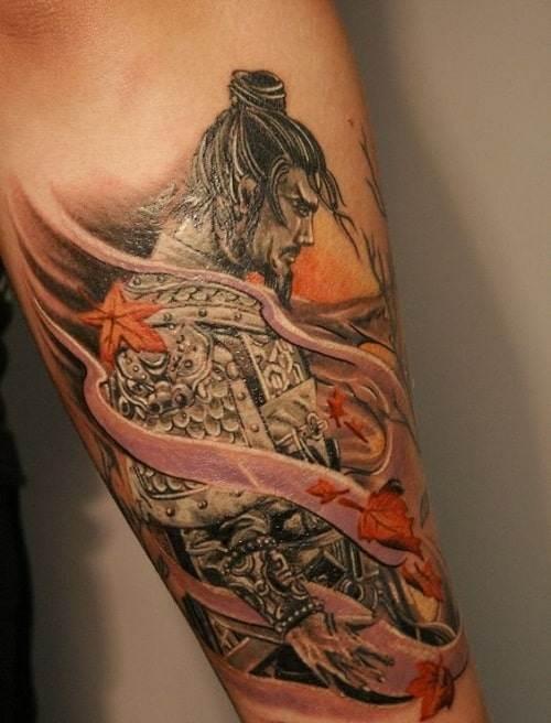 Sad Samurai Tattoo with Falling Leaves