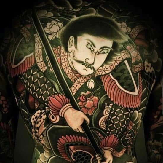 back tattoo of samurai