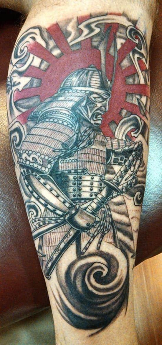samurai tattoos red sun