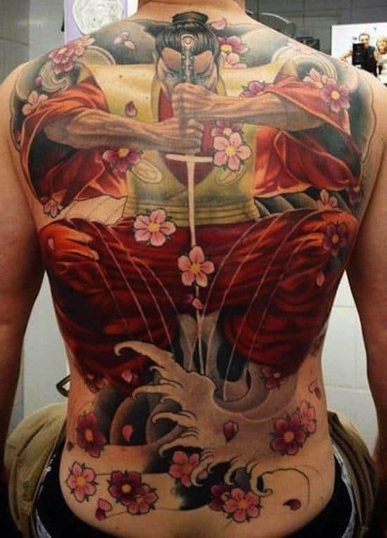 samurai tattoo with flowers and sword