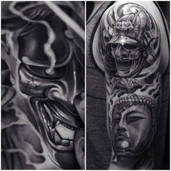 samurai tattoo smoke effect