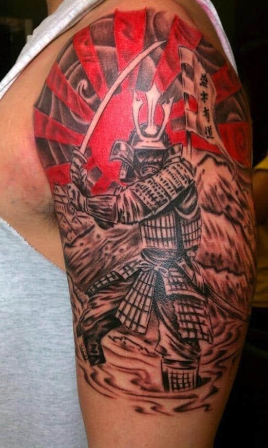 samurai with flag tattoo