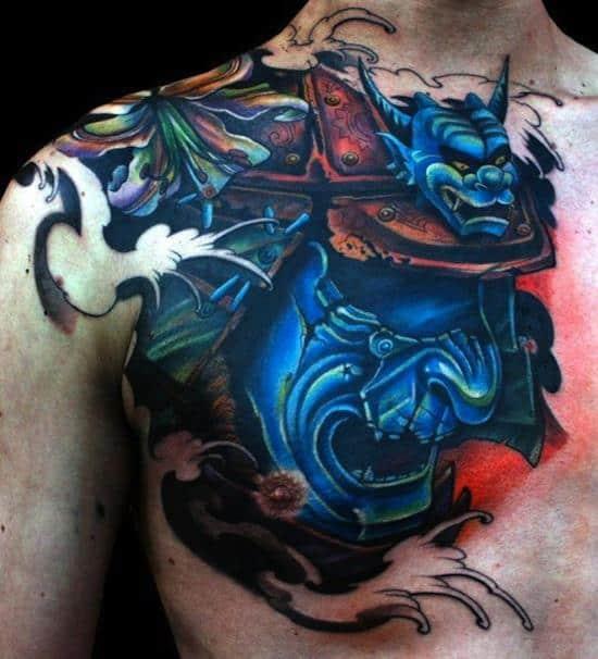 samurai tattoos blue mask