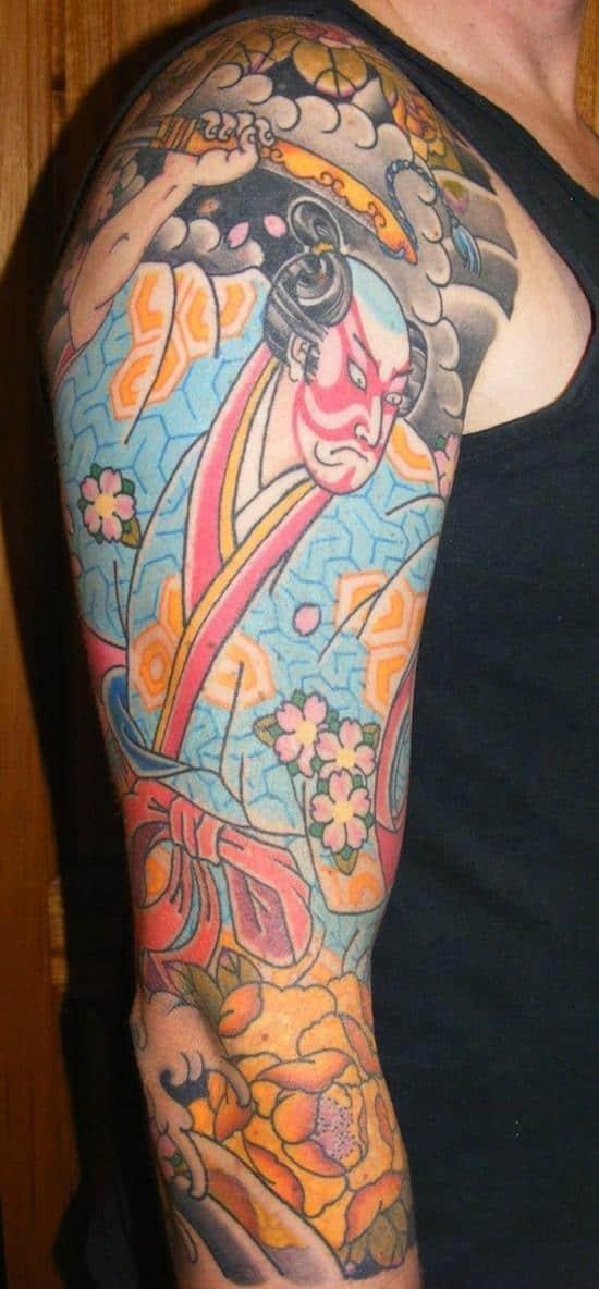 vintage samurai tattoo