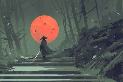 samurai with sword in forest