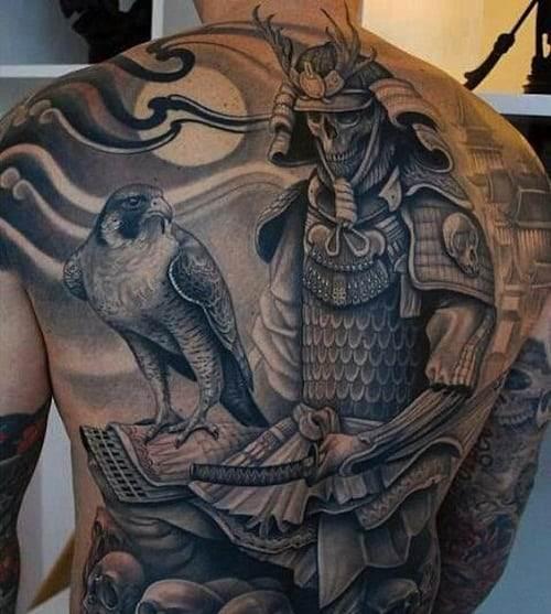 eagle with samurai tattoo
