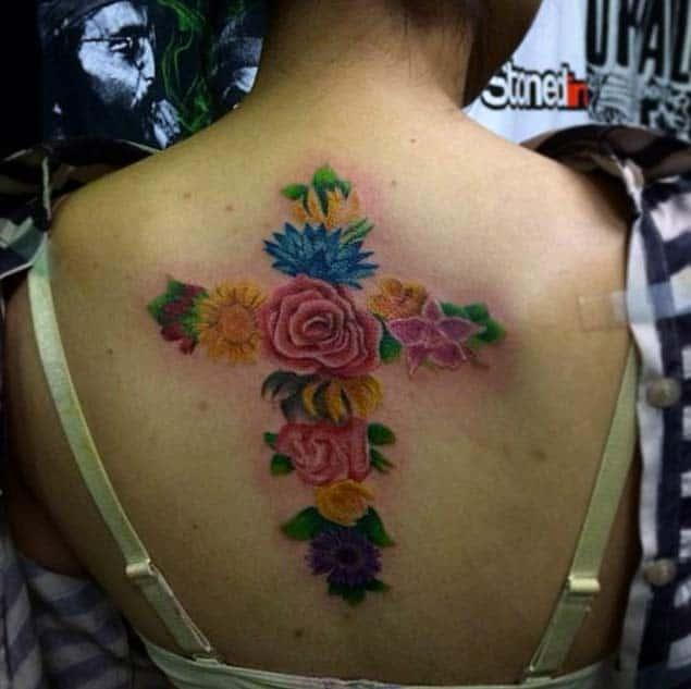 floral-cross-tattoo