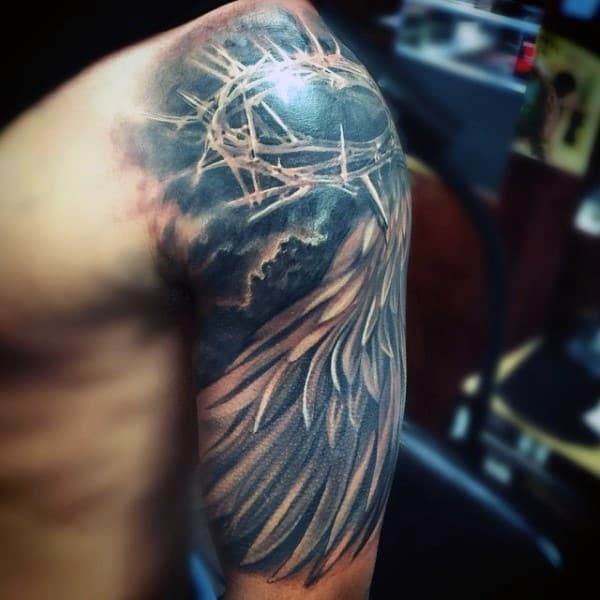 christian-half-sleeve-tattoo-designs-for-males-crown-and-wings