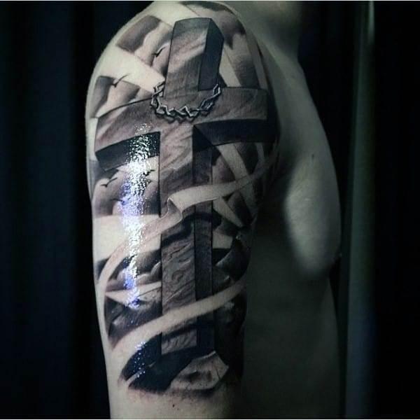 creative-christian-tattoos-men-upper-arm-cross