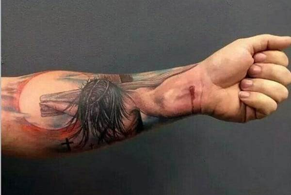 jesus-nailed-to-cross-christian-forearm-tattoo-for-men