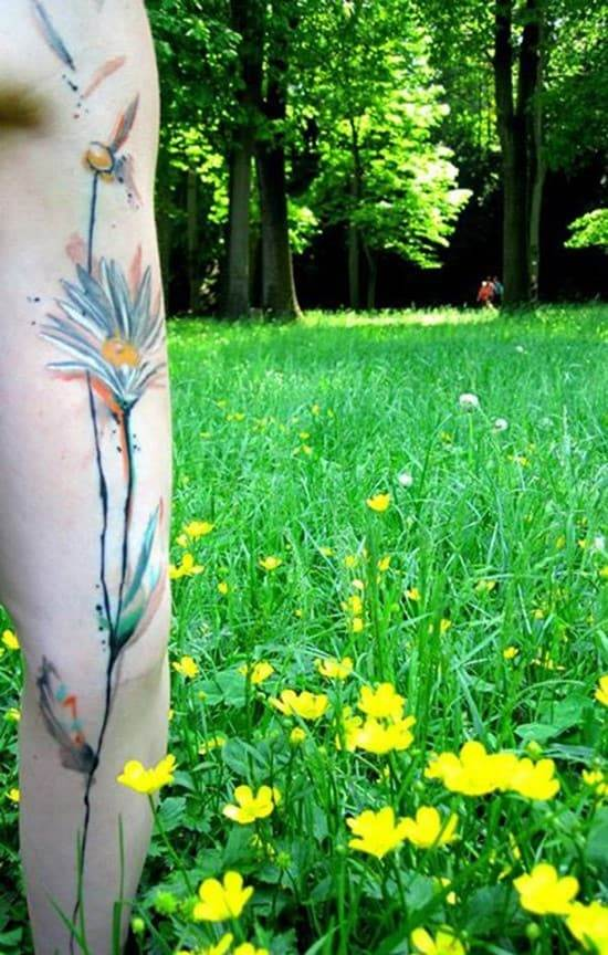 14-Watercolor-flower-arm-tattoo