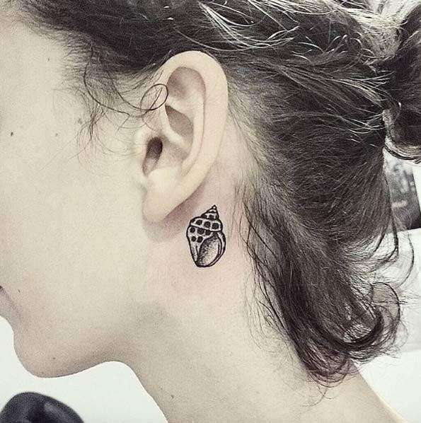 Tiny Seashell Behind Ear by Yanna