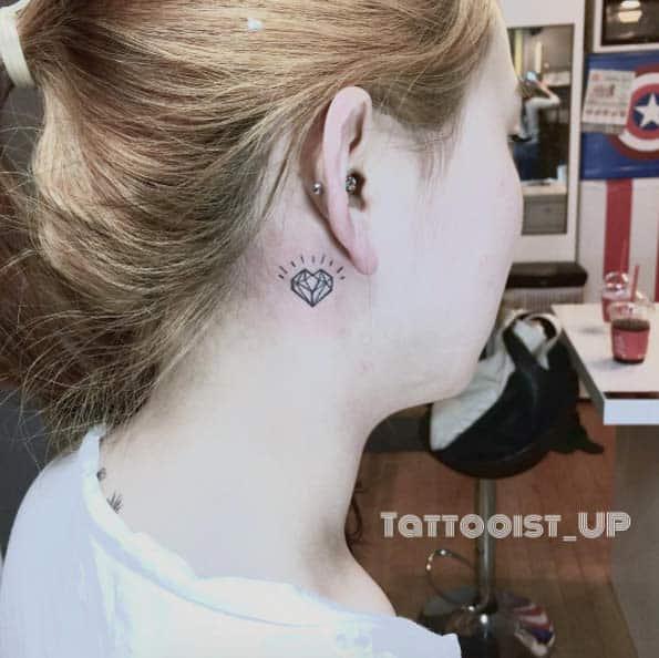 Geometric Heart Tattoo Behind Ear by UP