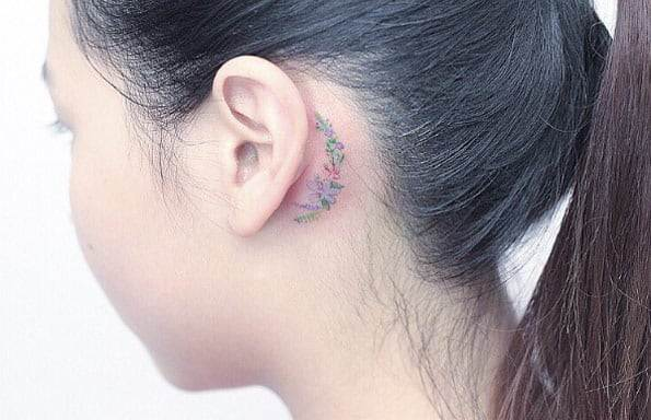 Floral Behind The Ear Tattoo by Mini Lau