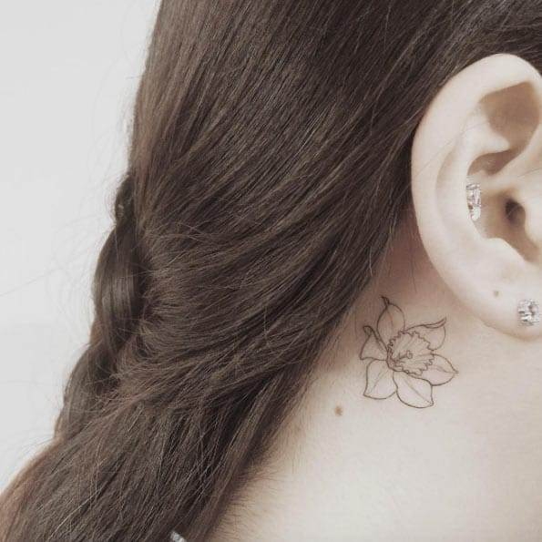 Floral Behind The Ear Tattoo by Doy