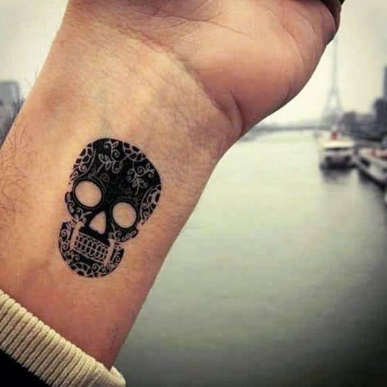Blackwork Sugar Skull Tattoo Design