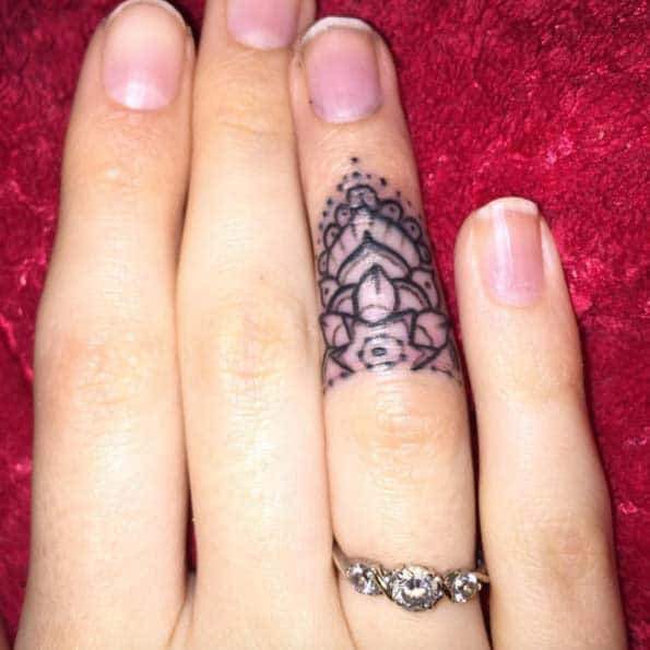 Mandala Finger Tattoo by Lauren