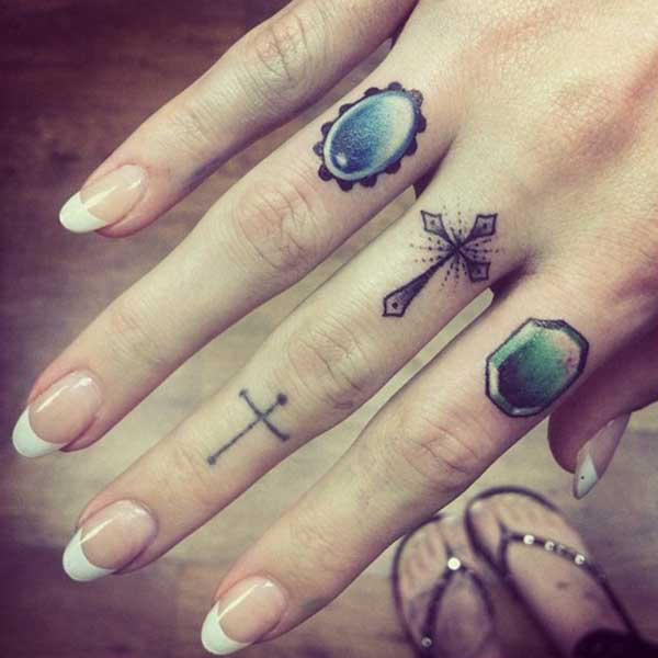 Gems Finger Tattoo