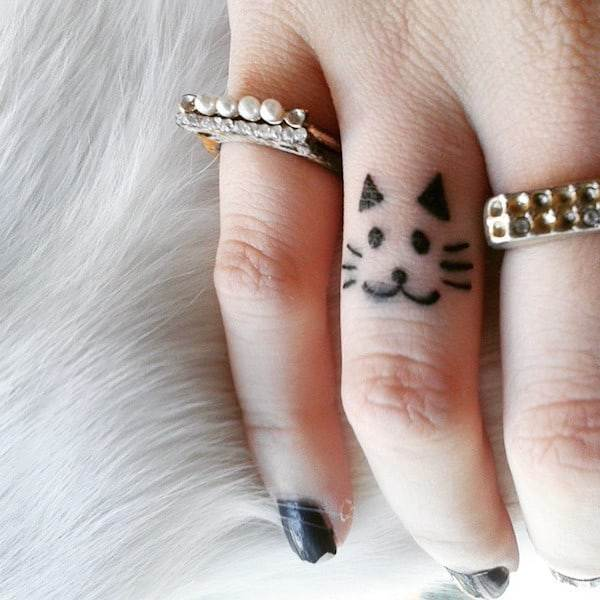 Kitty Finger Tattoo