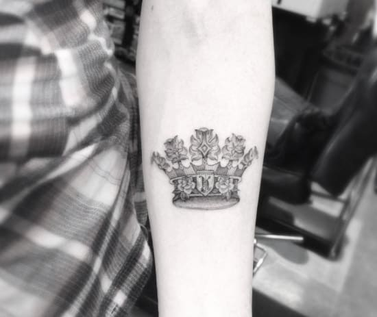 Crown Tattoo on Forearm by Doctor Woo