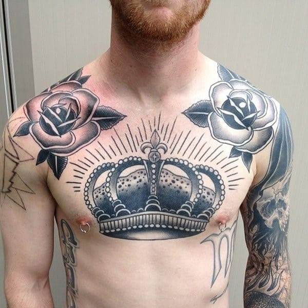 Cool-Crown-Chest-Tattoo-for-Men