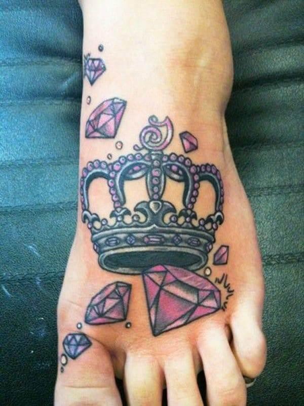 Cute-Crown-Diamond-Foot-Tattoo