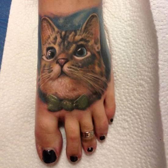 14-3D-cat-tattoo-on-foot