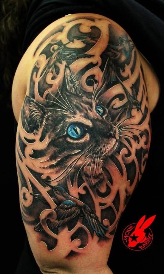 25-Blue-Eye-Cat-and-Bird-Tattoo-by-Jackie-Rabbit