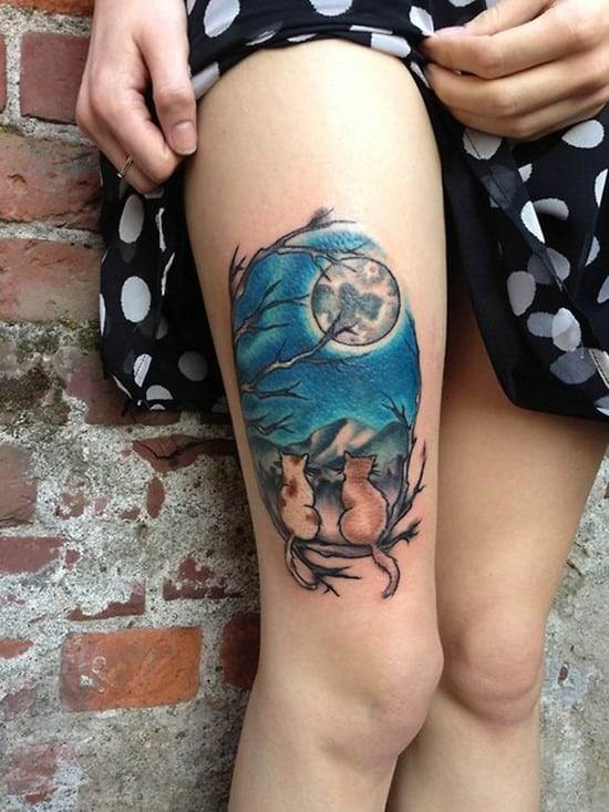 52-Moon-Cats-Thigh-Tattoo