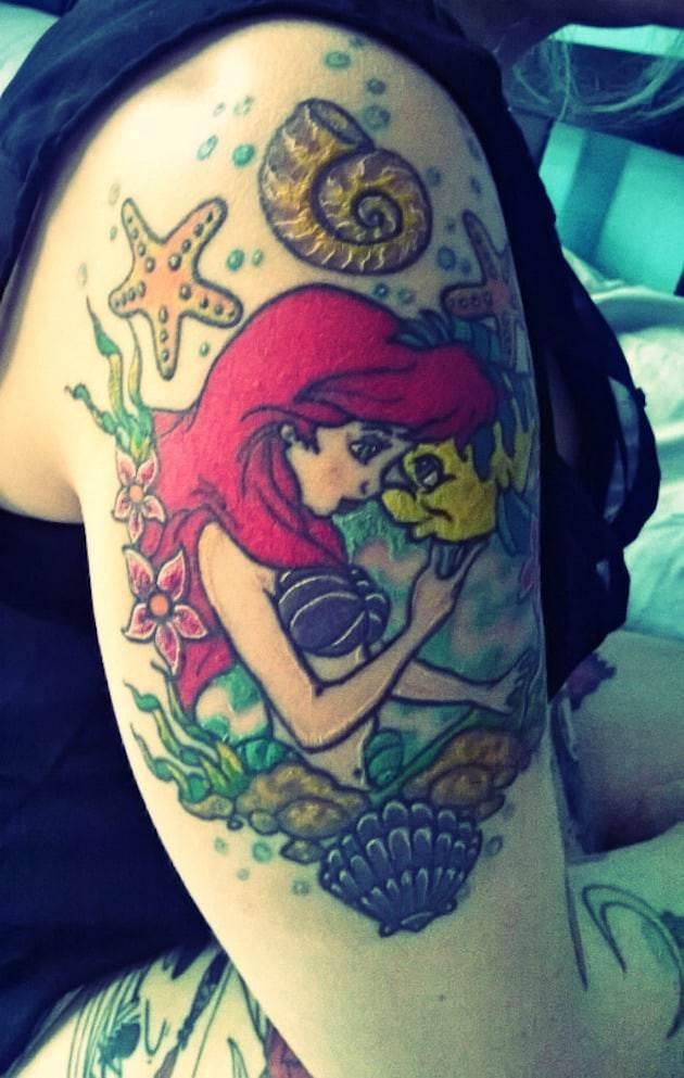 ariel-flounder-little-mermaid-tattoo
