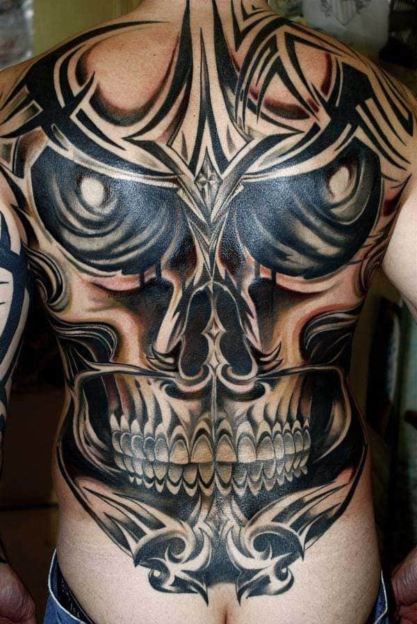 Creepy-Back-Tattoo-Ideas-for-Men-Pictures-Skull-Whole-Squad
