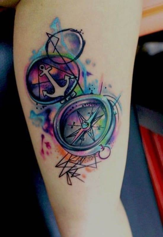 30-Compass-Watercolor-Tattoo