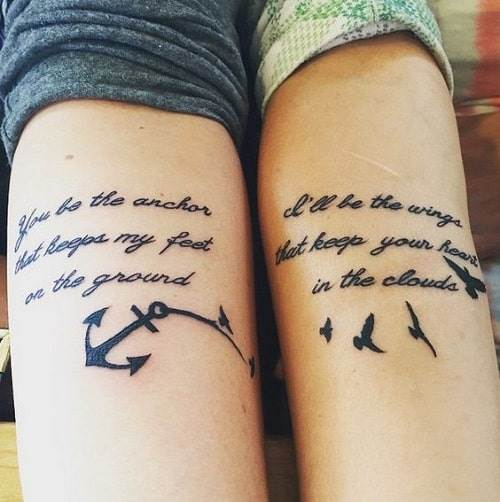 Anchor and Black Birds with Best Friend Quote Tattoos