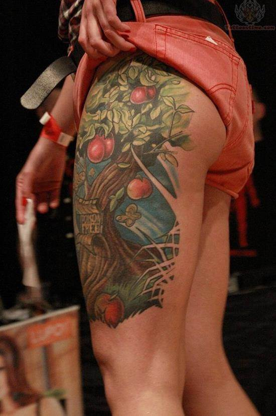 28-Apple-Tree-Tattoo-On-Leg