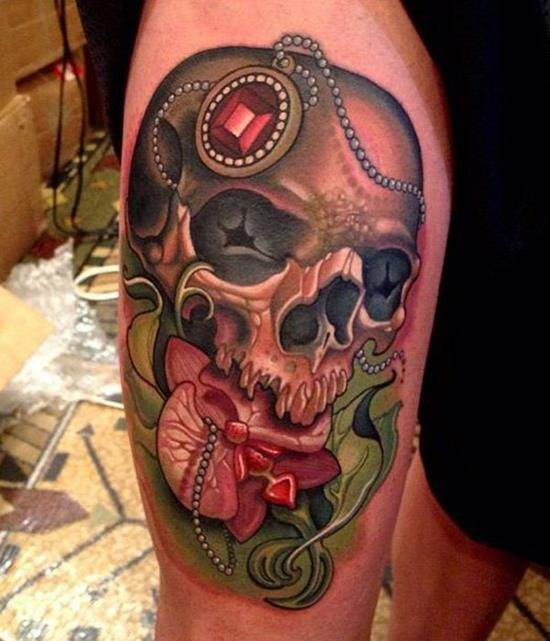 35-Colorful-skull-tattoo-on-leg