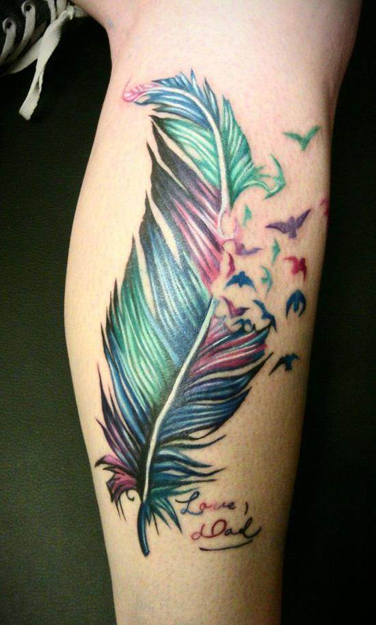43-colorful-feather-tattoos-on-leg