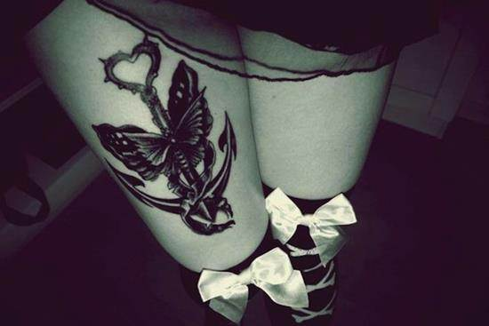 thigh-tattoo-butterfly-anchor