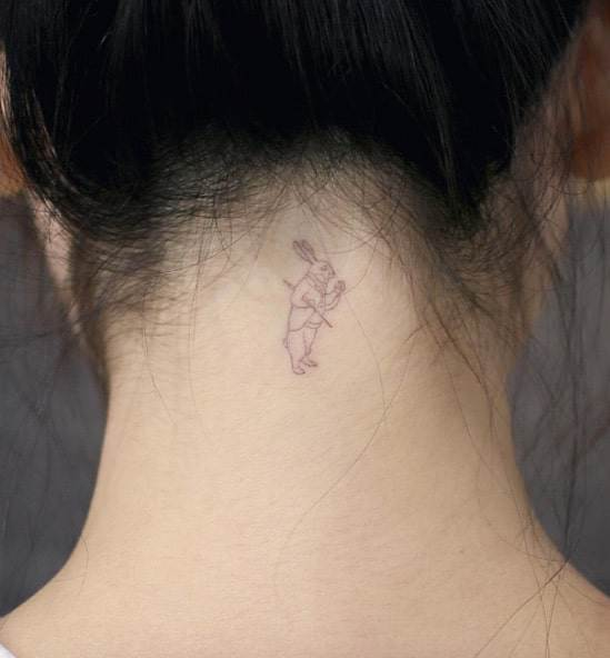 Washed Out White Rabbit Tattoo by Doy